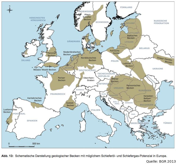 Karte - Schiefergas und Schieferöl in Europa